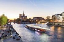 Francia, Parigi, Barca turistica sulla Senna con cattedrale di Notre Dame sullo sfondo — Foto stock