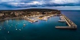 Maiorca, El Toro, Porto Adriano all'ora blu, vista aerea — Foto stock