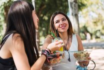 Compañeras sentadas en un parque, comiendo ensalada - foto de stock