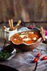 Tomato soup with sour cream and sesame sticks — Stock Photo