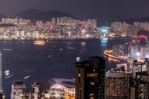 Hong kong, causeway bay, stadtbild bei nacht — Stockfoto