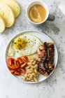 Breakfast with tomatoes, white beans, — Stock Photo