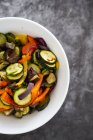 Mix of cooked vegetables in bowl — Stock Photo