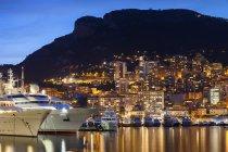 Principality of Monaco, Monaco, Monte Carlo, marina at blue hour — Stock Photo
