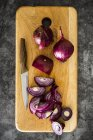 Red onion on chopping board, chopping — Stock Photo