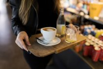 Immagine ritagliata di donna che trasporta vassoio con caffè e bibita in caffè — Foto stock