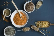 Red lentils, brown lentils, amarant, wheat, spelt wheat and corn in bowls and on spoons — Stock Photo