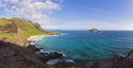Stati Uniti, Oceano Pazifico, Hawaii, Oahu, Vista da Makapu? U Point, Kaohikaipu Island, State Seabird Sanctuary — Foto stock