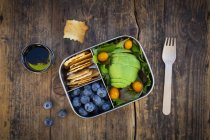 Lunch box of leaf salad, avocado, blueberries, tomatoes and crackers — Photo de stock