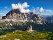 Italy, Veneto, Dolomites, Giau Pass, Cinque Torri and Tofana from the summit of Gusela — Stock Photo