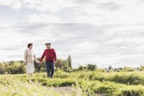 Senior couple on a walk in rural landscape — Stock Photo