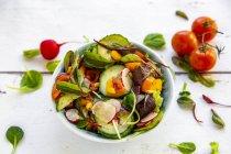 Салат с огурцом, помидорами, красной редиской и перцем — стоковое фото