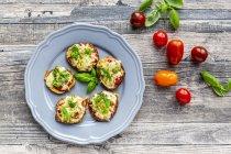 Баклажанная пицца, баклажаны с томатным соусом и сыром, запеченный, низкоуглеводный — стоковое фото