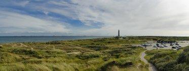 Denmark, Jutland, Skagen, Grenen, dune landscape with lighthouse in background — Stock Photo