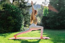 Mujer joven haciendo yoga en una estera en la hierba - foto de stock