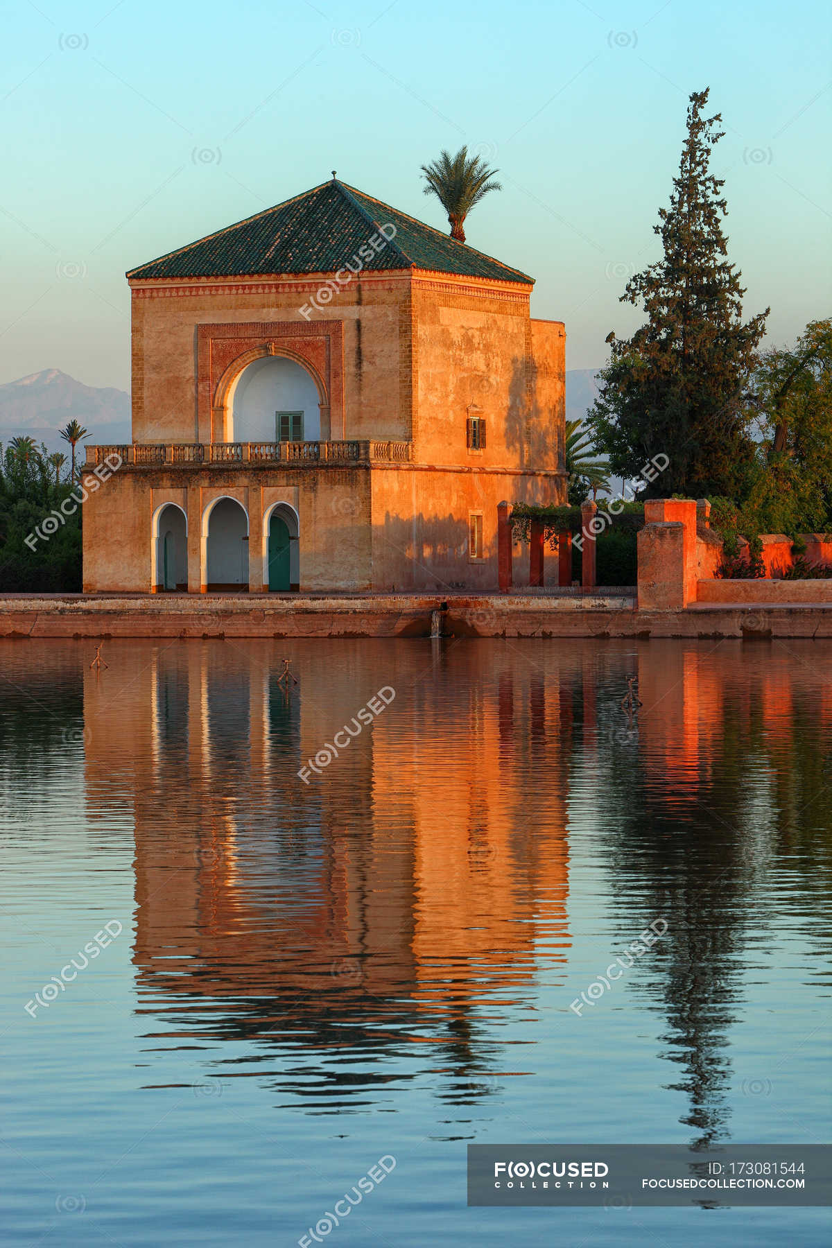 The Menara gardens are located in the west of Marrakech, Morocco, at ...