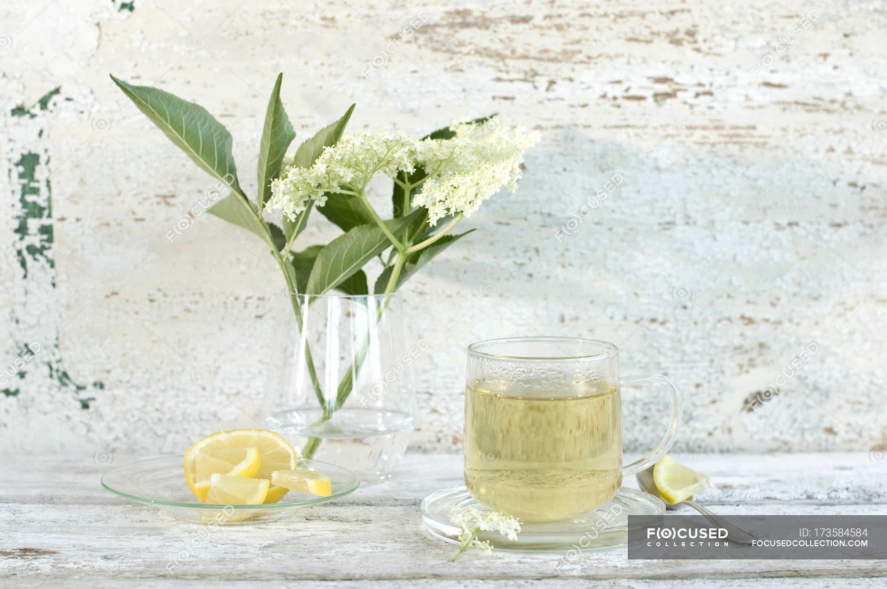 Elder Flower Tea Elderflowers And Lemon Slices Still Life