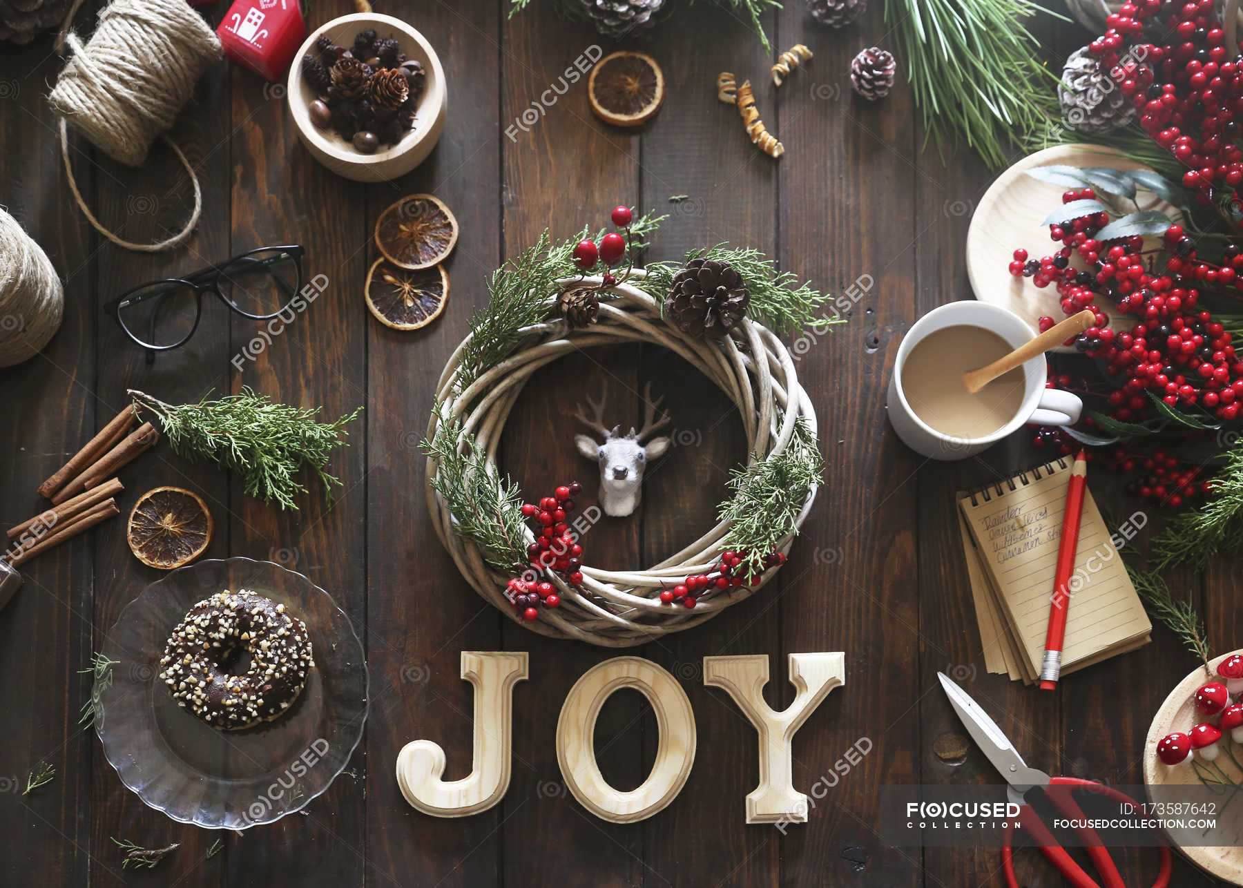 Christmas Top View.Top View Of Christmas Wreath On Wooden Table Sweet Food