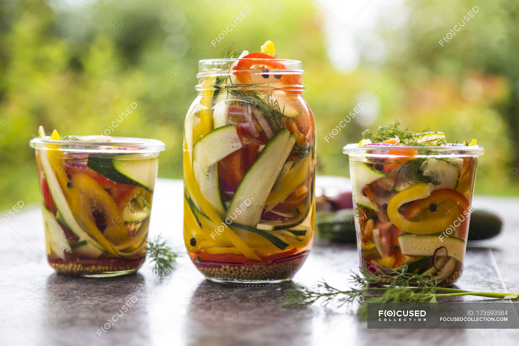 Pickeled Vegetables And Herbs In Preserving Jars Courgette