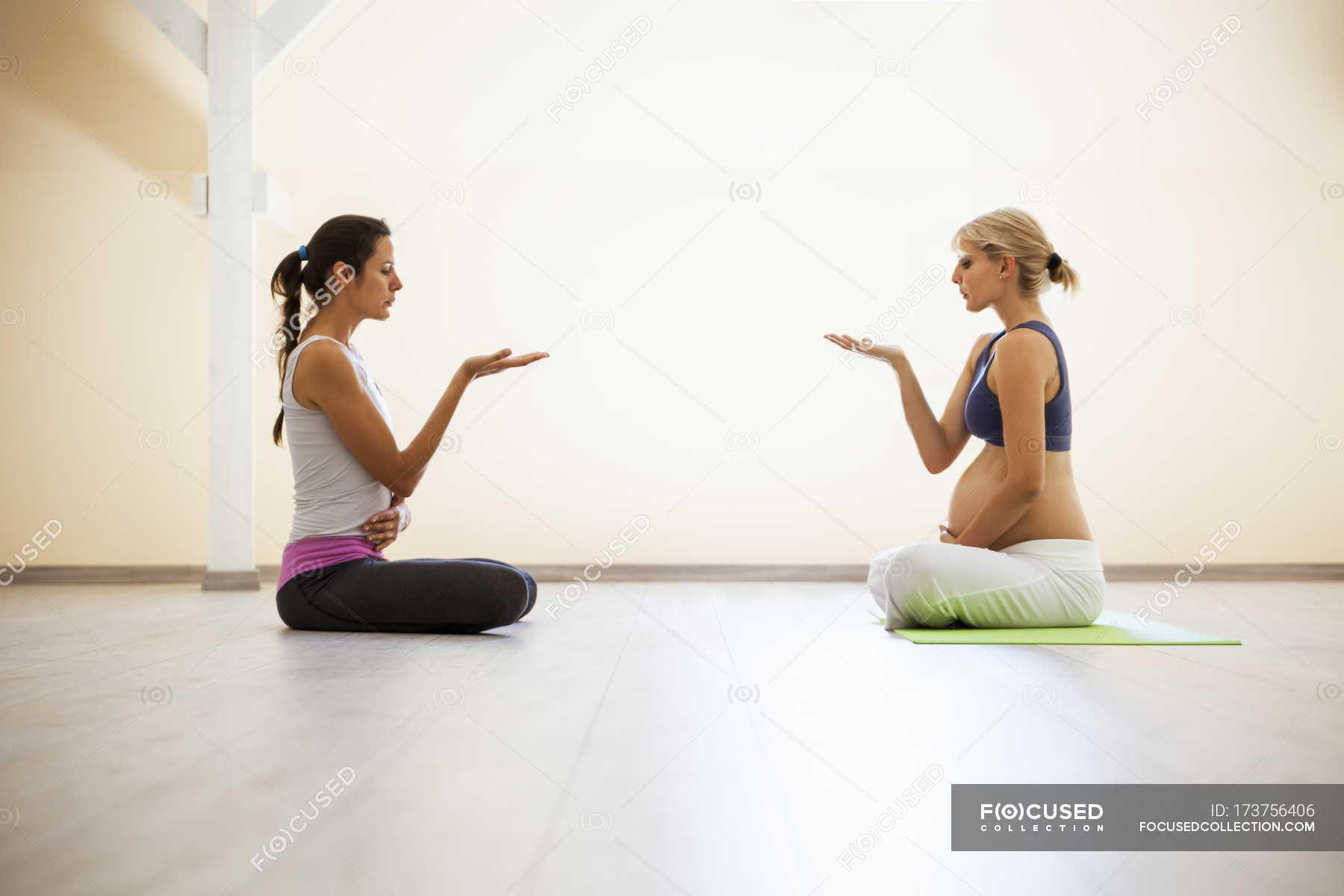 Prenatal Yoga Female Yoga Instructor Breathing Stock Photo