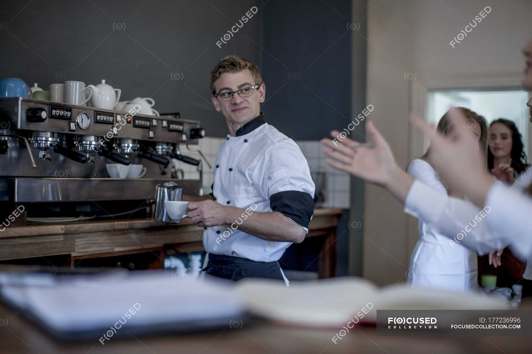 Waiter Preparing Coffee In Restaurant Coffee Cup Young Women Stock Photo 177236996