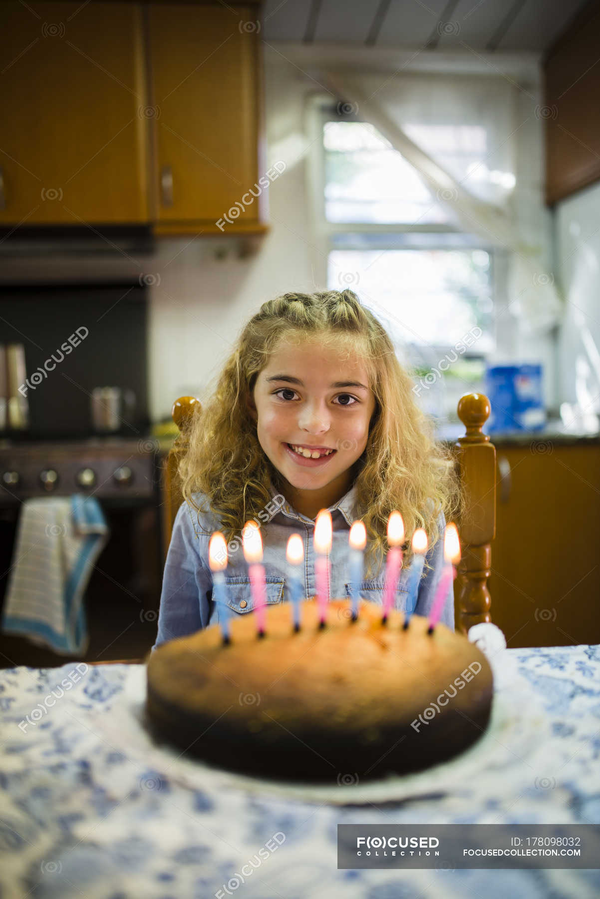 Surprising Portrait Of Happy Little Girl With Birthday Cake At Home Indoor Funny Birthday Cards Online Elaedamsfinfo