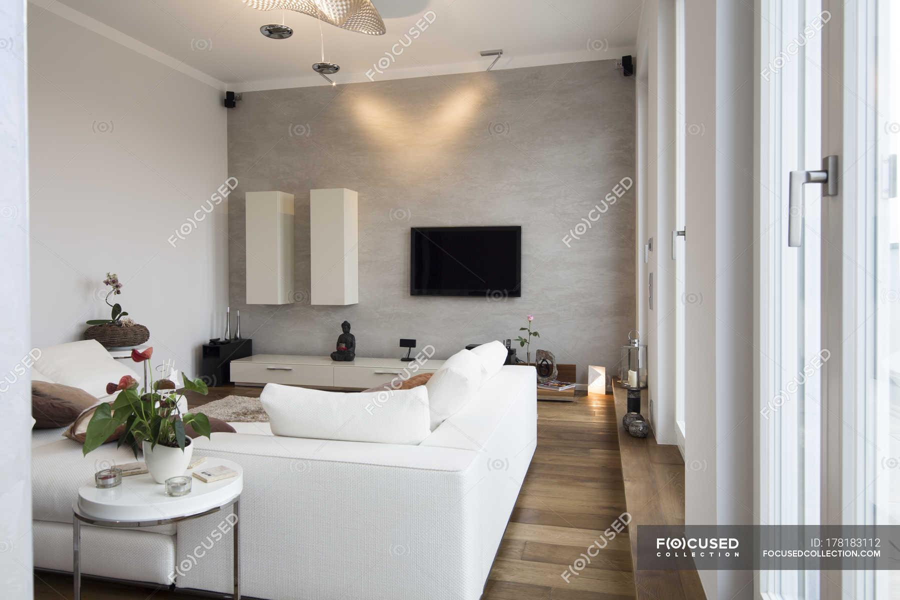 Interior Of Modern Flat Living Room With White Couch Showcase Interiors Indoor Stock Photo 178183112