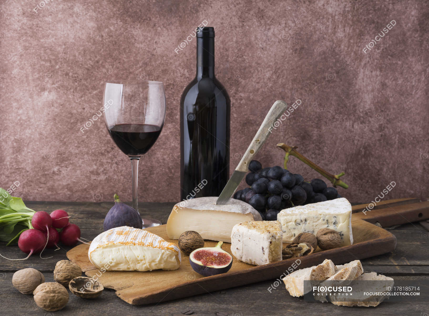 Cheese Platter With Camembert Walnut Cheese Gorgonzola Taleggio And Red Wine Choice Drink Stock Photo 178185714