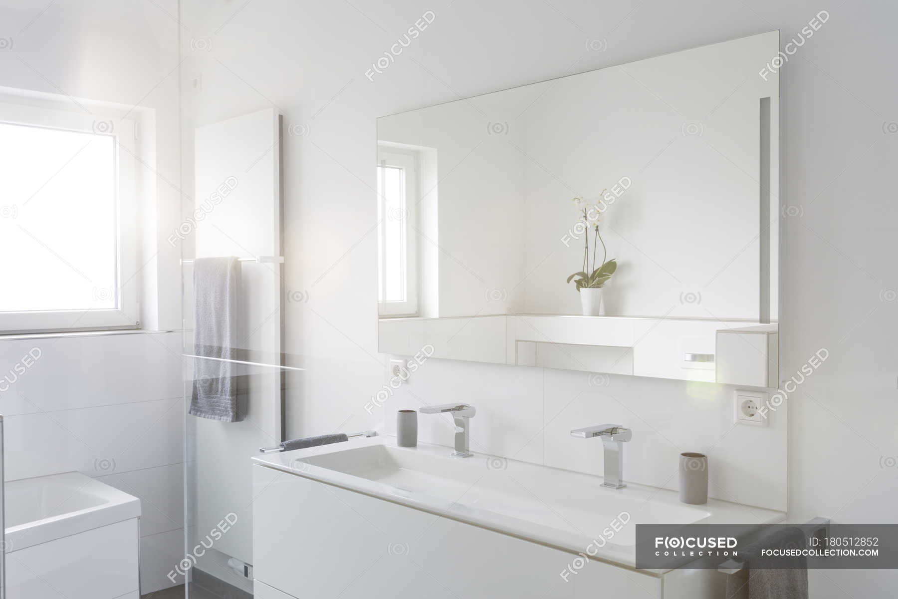 Interior Of Modern White Bathroom In Apartment Shower Room Empty Stock Photo 180512852