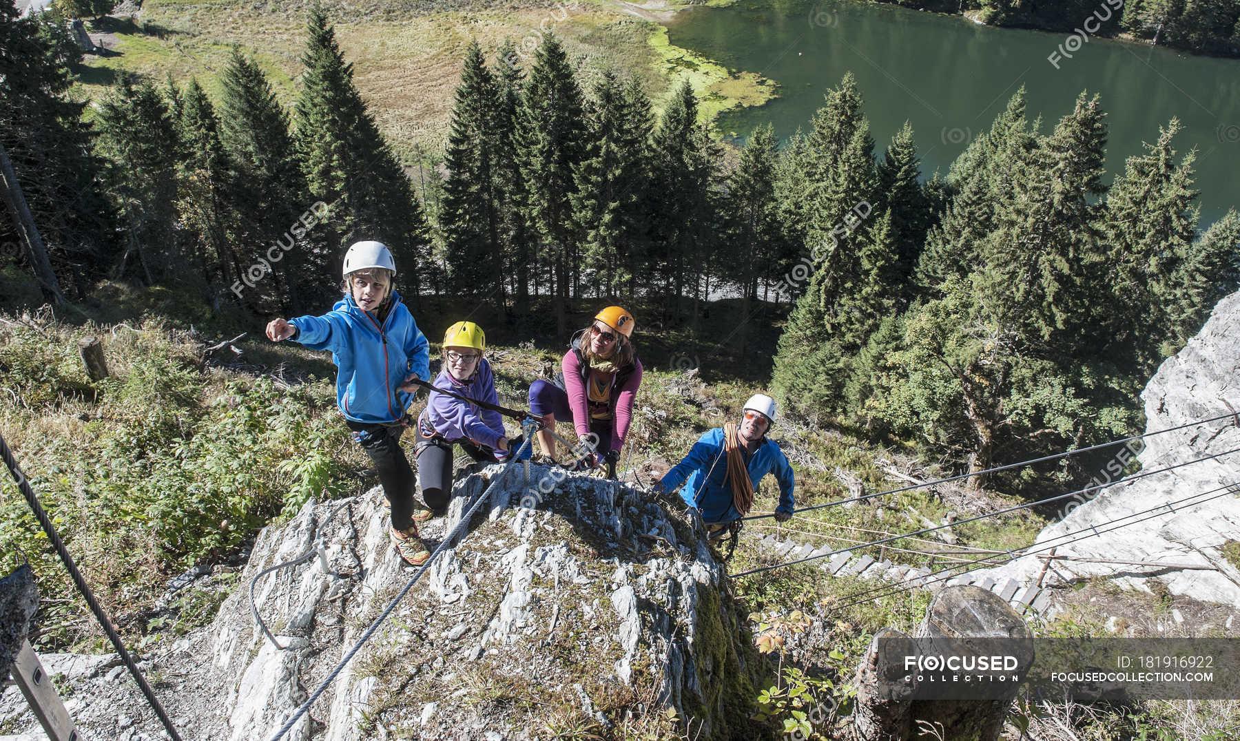 Kletterausrüstung Salzburg : Austria salzburg state altenmarkt zauchensee family climbing in