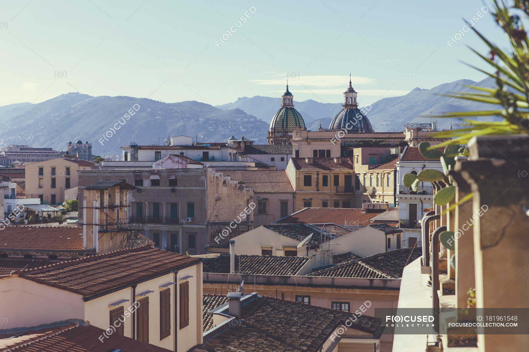 Italy, Sicily, Palermo, View over the roofs of Palermo ...