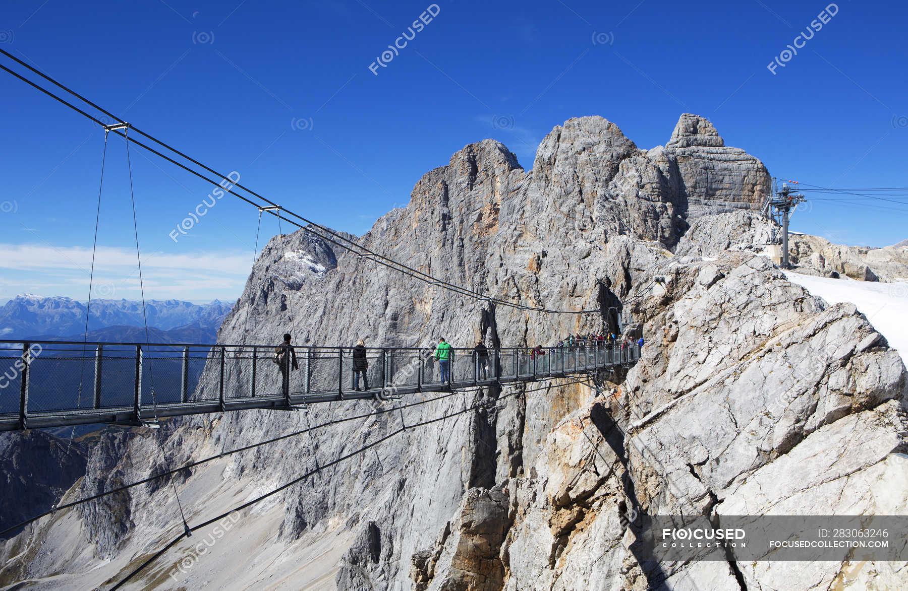 Austria, Styria, Salzkammergut, Dachstein massif, suspension ...