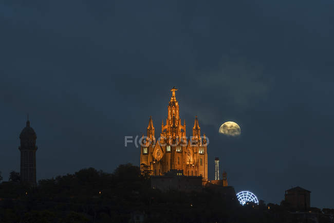Illuminated Historic building Cathedral Holy Heart at night in Barcelona city in Spain — Stock Photo