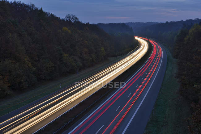 Traffic light trails on motorway — Stock Photo