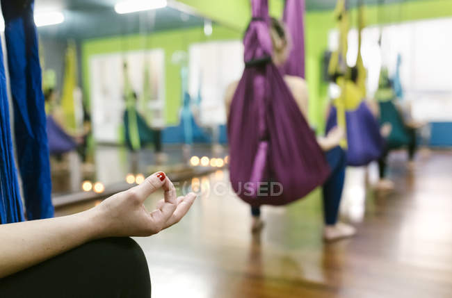 Women having class of aerial yoga — Stock Photo