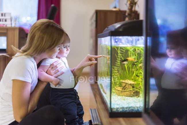 Mère et fils en regardant aquarium — Photo de stock