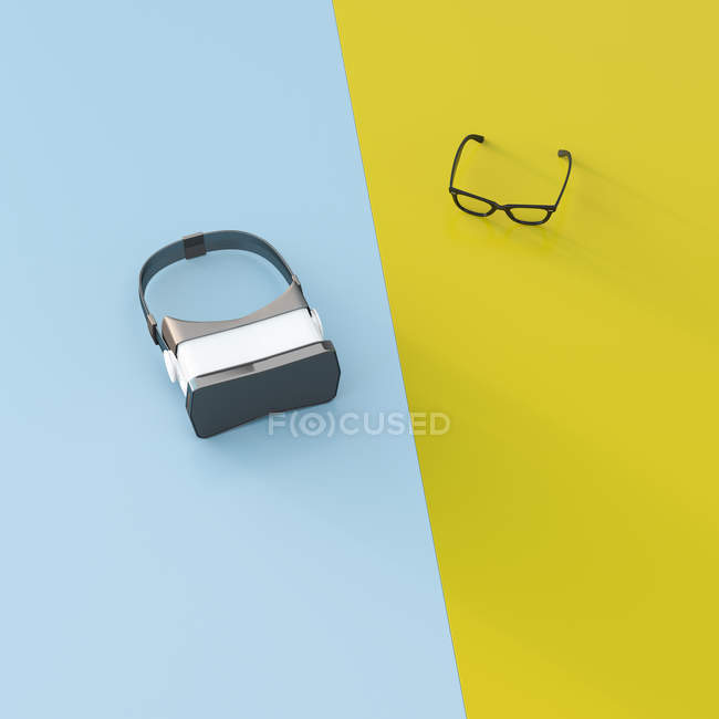 VR glasses next to common glasse — Stock Photo
