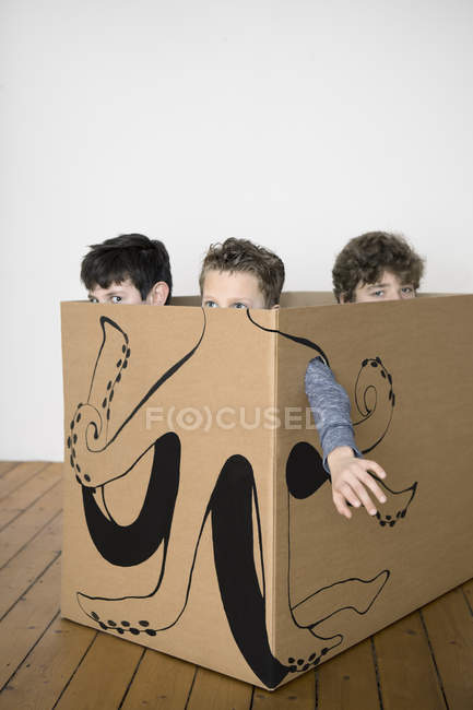 Three boys inside cardboard box — Stock Photo