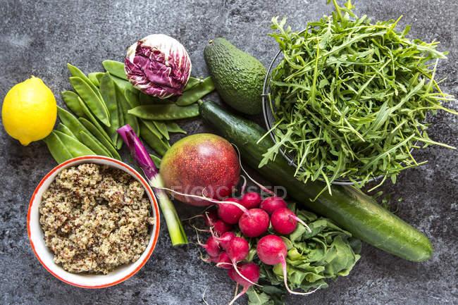 Ingredients of mango quinoa salad — Stock Photo
