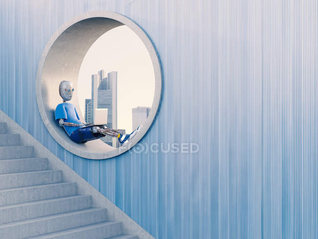 Робот сидит в круглом окне — стоковое фото
