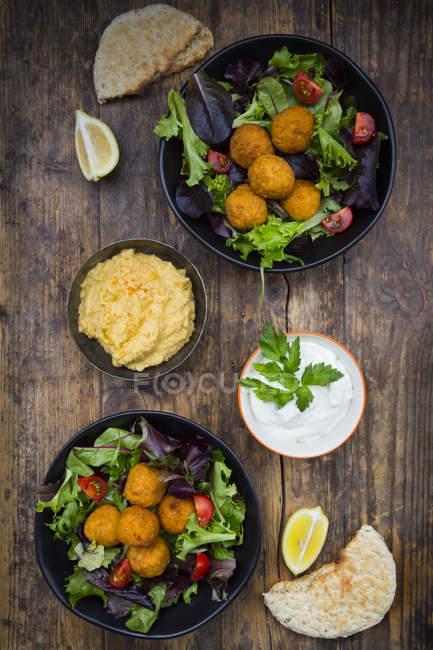 Sweet potato Falafel with mixed salad — Stock Photo