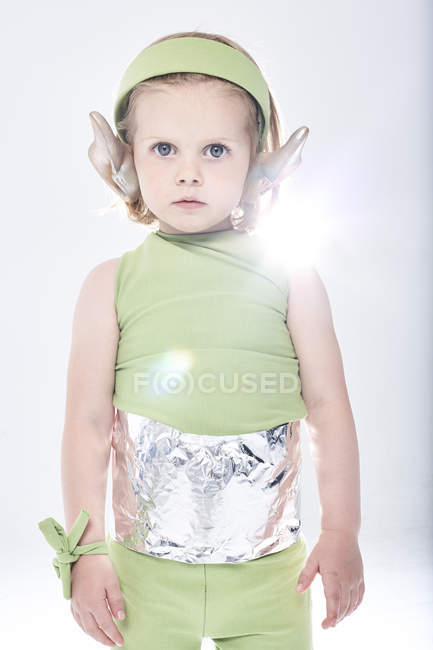 Girl dressed up as alien — Stock Photo