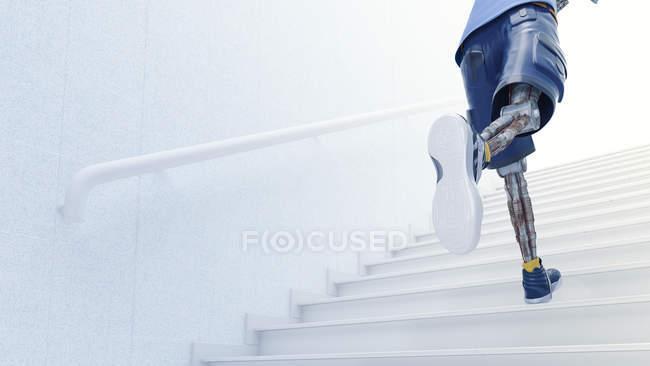 Robot corriendo escaleras arriba - foto de stock