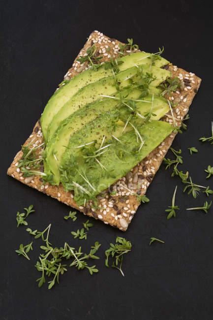 Pane croccante con semi, fette di avocado e crescione — Foto stock