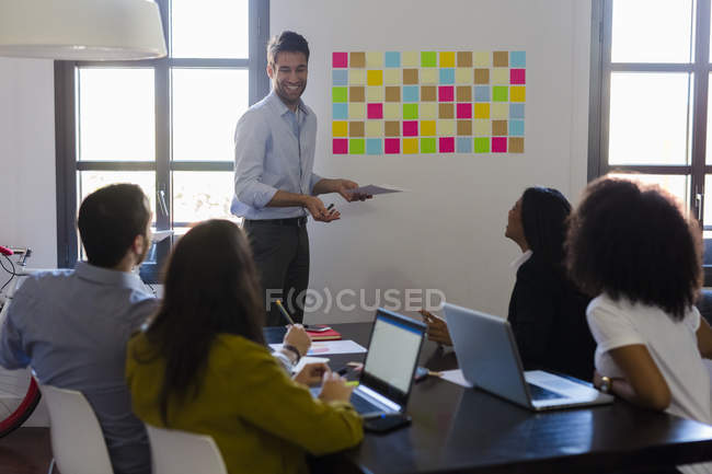 Businessman leading presentation — Stock Photo