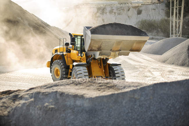 Digger working at quarry, — Stock Photo