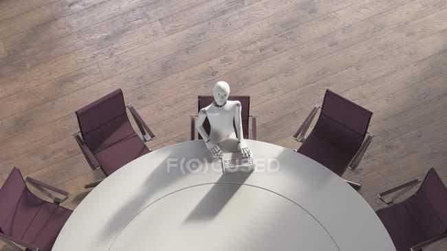 Robot using laptop — Stock Photo