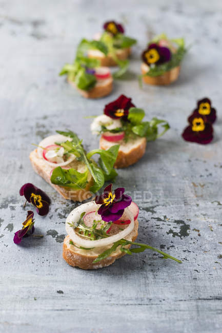 Slices of Baguette with rocket, lamb's lettuce, red radish, onion rings and edible Horned Violets — Stock Photo