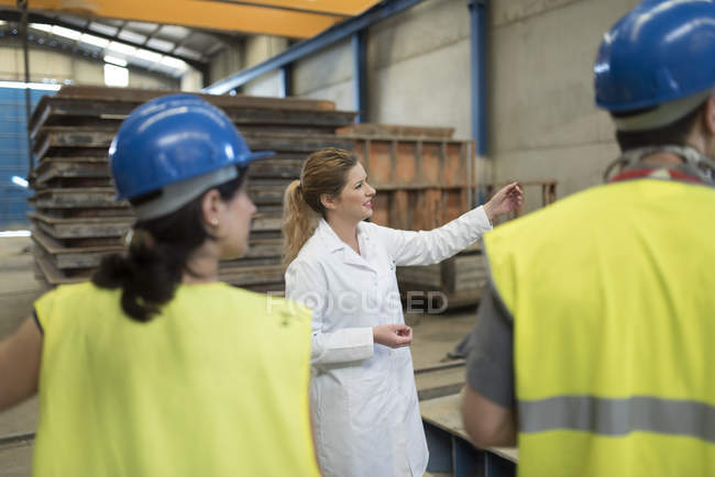 Scientist briefing workers in factory — Stock Photo