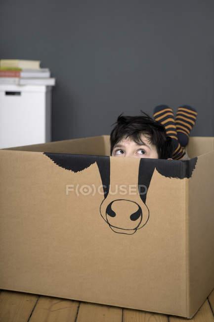 Menino dentro da caixa de papelão — Fotografia de Stock